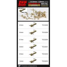 0.5mm - 1.0mm Hex Rivets (A) Brass