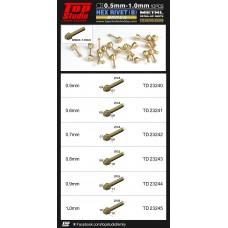 0.5mm - 1.0mm Hex Rivets (B) Brass
