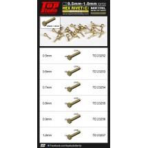 0.5mm - 1.0mm Hex Rivets (C) Brass